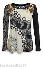 NEW DESIGUAL SUSI BLACK LACE GREY ETHNIC SEQUIN FLORAL PRINTED DESIGNER TOP