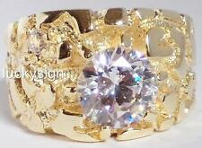 14K  GOLD EP DIAMOND SIMULATED MENS NUGGET SOLITAIRE RING SIZE 11-12 u choose