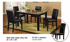 5 pc Faux Marble Top Dining Room Table Set with Faux Leather Chairs