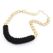 Women Necklace with Cylinder Shaped Mini Beads Pendant Chain Necklace Black OK