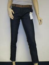 Love Moschino Slim Blue Dark Wash Jeans Brown Leather Trouser Pants Capri Skinny