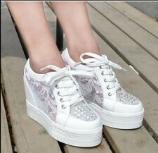 2015 Trendy Womens Lace up Breathable Hidden Wedge High Heel High Top Sneaker