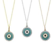 Evil eye diamond necklace charm pendant in solid 14 k gold 0.10 TCW G-H