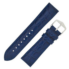 Hirsch CROCOGRAIN Crocodile Embossed Leather Watch Strap and Buckle in BLUE