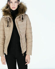 NWT ZARA QUILTED ANORAK JACKET  WITH FUR HOOD  SIZE MEDIUM & LARGE RARE