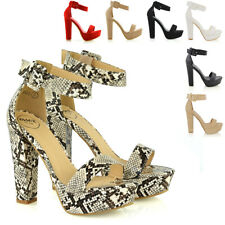 Womens Strappy Heel Platform Ankle Sandals Ladies Block Sole Party Prom Shoes