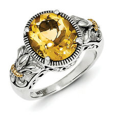Citrine Ring Sterling Silver w/ 14K Gold Accent Antiqued Size 6 - 8 Shey Couture