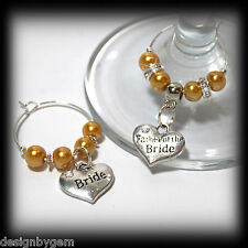 Beautiful Gold wedding wine glass charms for top table or favours decor