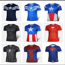 Mens Marvel DC Comics Superhero Costume Top Tee T-Shirts Jersey Cycling Shirts