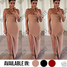Womens Bodycon Nude Red Two Piece Bandeau Bralet Top and Maxi Split Skirt Dress