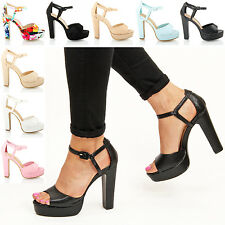 Womens ladies summer prom party platform block high heel sandals shoes size