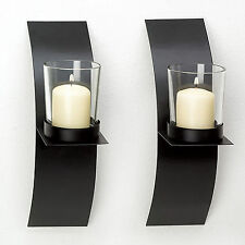 Modern Art Candle Holder Wall Sconce Black Wire Metal or Plaque Set of 2 US New