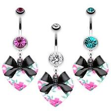 Vintage Floral Heart Bow-Tie Belly Button Ring Fuchsia Clear Teal Navel CZ Black