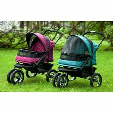 NO-ZIP DOUBLE PET DOG CAT STROLLER x-wide carriage spacious, comfortable ride