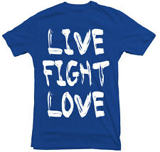 LIVE FIGHT LOVE Mens T-Shirt Heart+Glory MMA UFC S, M, L, 2XL, 3XL $9.99