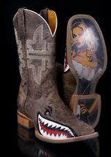 Tin Haul Mens Toastin' A Gnarly Shark Beer Girl Brown Western Cowboy Boots