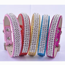 Lot 5 Rhinestone Collar Adjustable Pu Leather Dog Collar Small Products For Dogs
