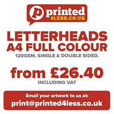LETTERHEADS A4 PRINTED FULL COLOUR 120GSM QUALITY PAPER SINGLE DOUBLE STATIONERY