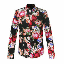 Men's Shirt Casual Floral Print Slim Fitted Dress Shirt Mens Designer Clothing