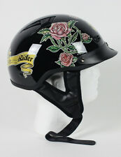 DOT LADIES VENTED BLACK ROSE MOTORCYCLE  HALF SHELL BEANIE HELMETS -NEW