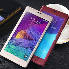 2015 New Full Screen Flip Leather Phone Case Cover for Samsung Galaxy Note 4