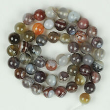 Natural Stripe Botswana Agate Round Loose Gemstone Beads 6mm 8mm 10mm 12mm 15.5""