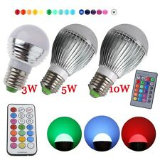 E27 G60 5W 10W 16 Color Changing RGB LED Light Bulb Change Lamp + Remote Control