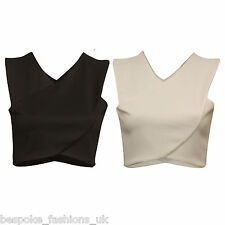 Ladies Women Plain Front Cross Over Detail Sleeveless Crop Tee Top Size 8-14