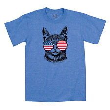 Cat USA Flag Hippie Glasses 60s 4th of July Patriotic Merica Funny Mens T-Shirt