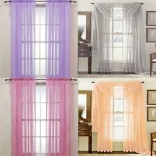 Door Window Curtain Drape Panel Scarf Assorted Scarf Solid Sheer Voile 19 Colors
