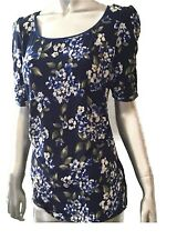 White House Black Market Navy Floral Top Trimmed In Blue Chiffon Small Medium XL