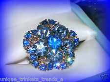 VINTAGE STYLE SAPPHIRE BLUE CRYSTAL SILVER FLOWER GIFT RING~ADJUSTABLE SZ 7/8/9