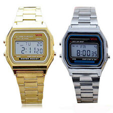Great Hot Unisex Vintage Stainless Steel LCD Digital Sport Stopwatch Wrist Watch