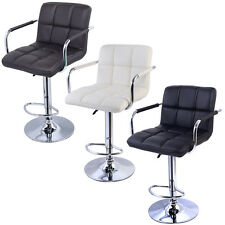 2PC Swivel Bar Stool PU Leather Modern Adjustable Hydraulic Barstool w/ Arm
