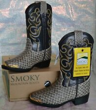 SMOKY MOUNTAIN BLACK PYTHON LARAMIE 1042T Toddler Cowboy Western Boots Shoes NEW