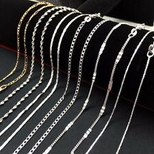 "925 STERLING SILVER 16 18 20 22 24 26 28 30"" INCH 1.5/2MM CURB CHAIN NECKLACE"