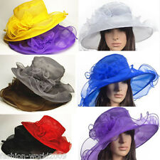 Lady Kentucky wedding church dress derby hat wide brim organza Folding hat Color