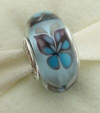 Authentic Pandora Murano Glass Charm S 925 ALE Blue Butterfly Kisses # 791622