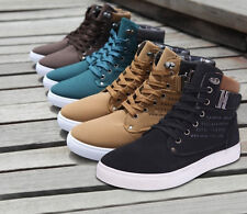 Mens Boys Shoes Korean High Tops Canvas&PU Casual Shoes All Size Sneakers New