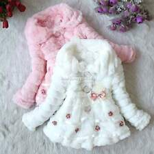 Toddlers Girls Faux Fur Fleece Lined Coat Kids Winter Warm JacketSize6,8,10,12,1