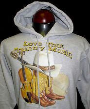 New Hooded Sweatshirt Rodeo Western Cowboy Hoodie Love That Country Music Gray