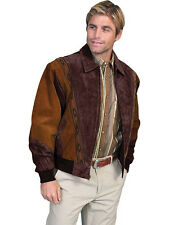 Men's New Two Toned Boar Suede Western Cowboy Rodeo Jacket Cafe Brown Chocolate