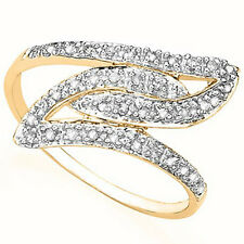 CHARMING 1/5 CTW GENUINE DIAMOND 18K YELLOW GOLD OVER 0.925 STERLING SILVER RING