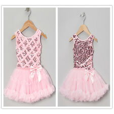 Baby Kid Girl Princess Sequins Tulle Lace Tutu Party Evening Dress Skirt Clothes