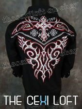 VICTORIOUS Black Hot Tribal Crystal Embroidered Button Shirt ROAR with Class!