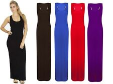 New Women Ladies Jersey Long Summer Vest Racer Muscle Back Maxi Dress Size 8-14