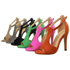 Women Ladies Office High Heels Stiletto Peep Toe Ankle Strap Suede Shoes Sandals