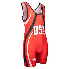 KO Sports Gear's Red USA Wrestling Singlet - Olympic Style