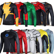 Men Marvel Superhero T-shirt Compression Shirt Jersey Base Layer Cycling Top Tee