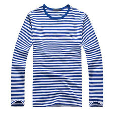New Mens Casual Shirts Long Sleeve Striped Color Military Navy T-Shirts Man Tops